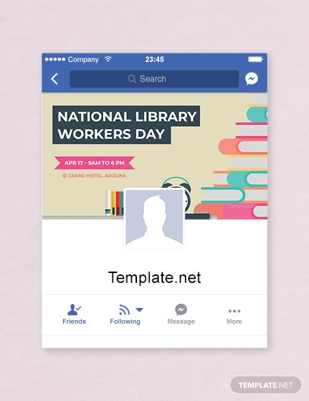 Free National Library Workers Day Facebook App Cover Template