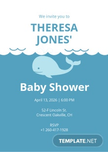 Whale Baby Shower Invitation Template