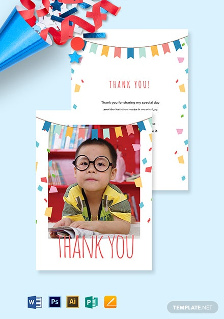 Birthday Photo Thank You Card Template