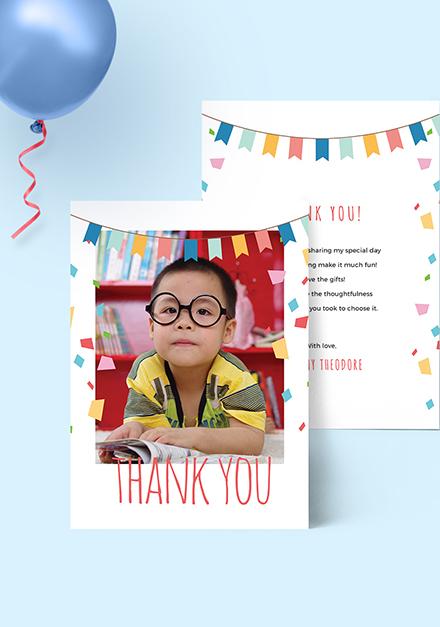 Sample Birthday Photo Thank You Card