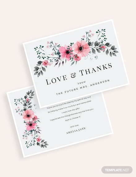 Bridal Shower Thank You Card Template - Word | PSD | Apple ...