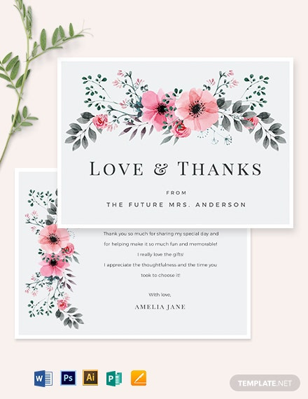 Bridal Shower Thank You Card Template