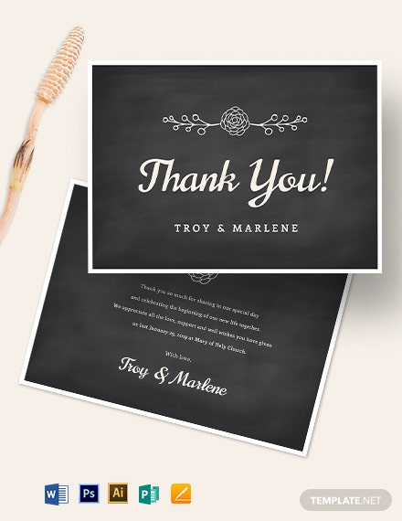 Chalkboard Thank You Card Template