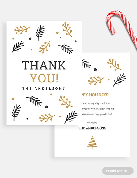 Christmas Holiday Thank You Card Download