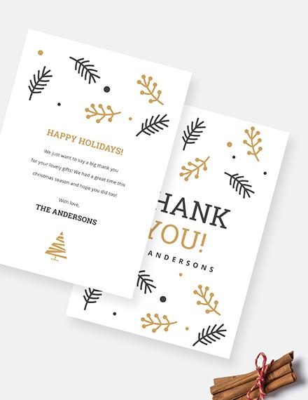 Sample Christmas Holiday Thank You Card