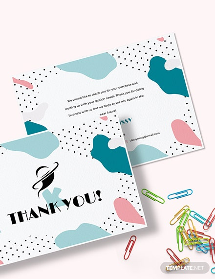 Sample Fashion Business Thank You Card