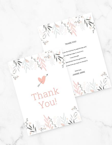 Floral Bridal Shower Thank You Card Download