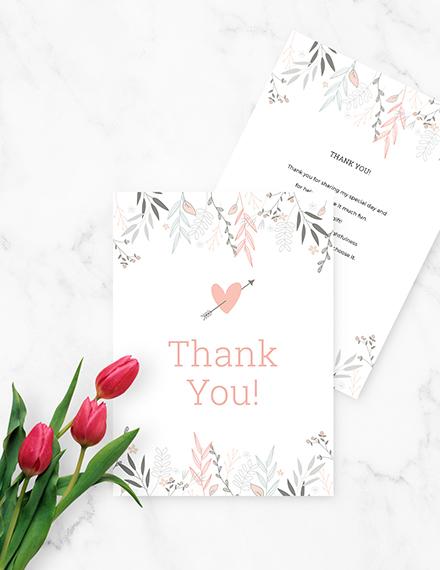 Sample Floral Bridal Shower Thank You Card