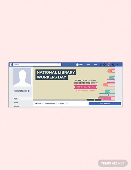 Free National Library Workers Day Facebook Cover Template