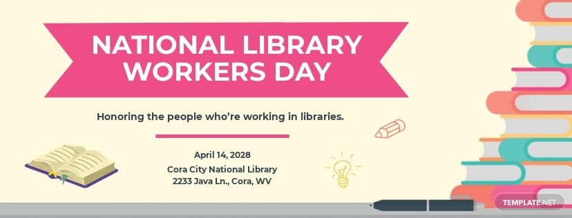 Free National Library Workers Day Facebook Cover Template.jpe