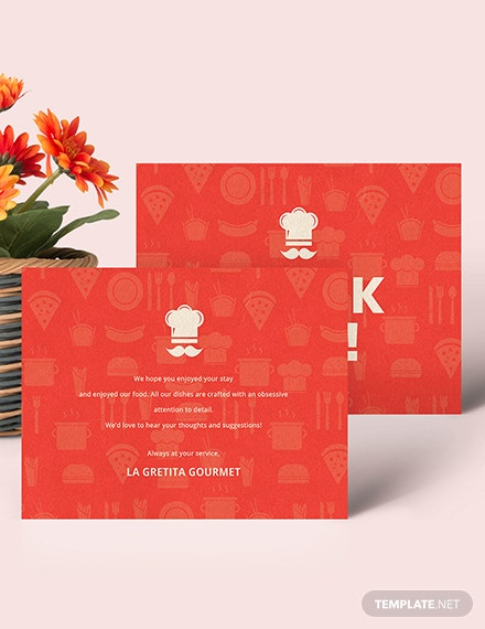 Sample Restaurant Thank You Card Template