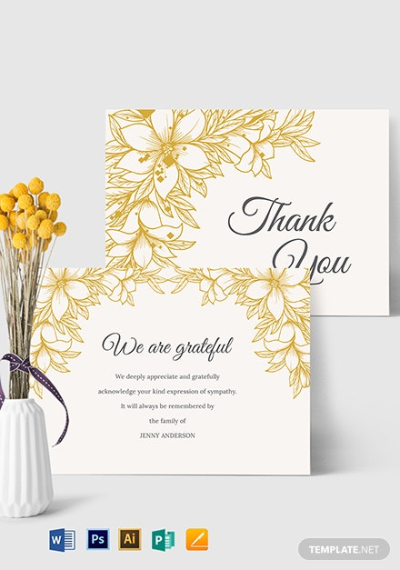 Sympathy Thank You Card Template