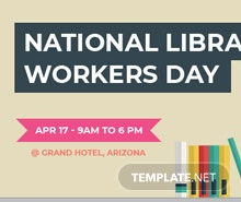 Free National Library Worker's Day Facebook Event Cover Template