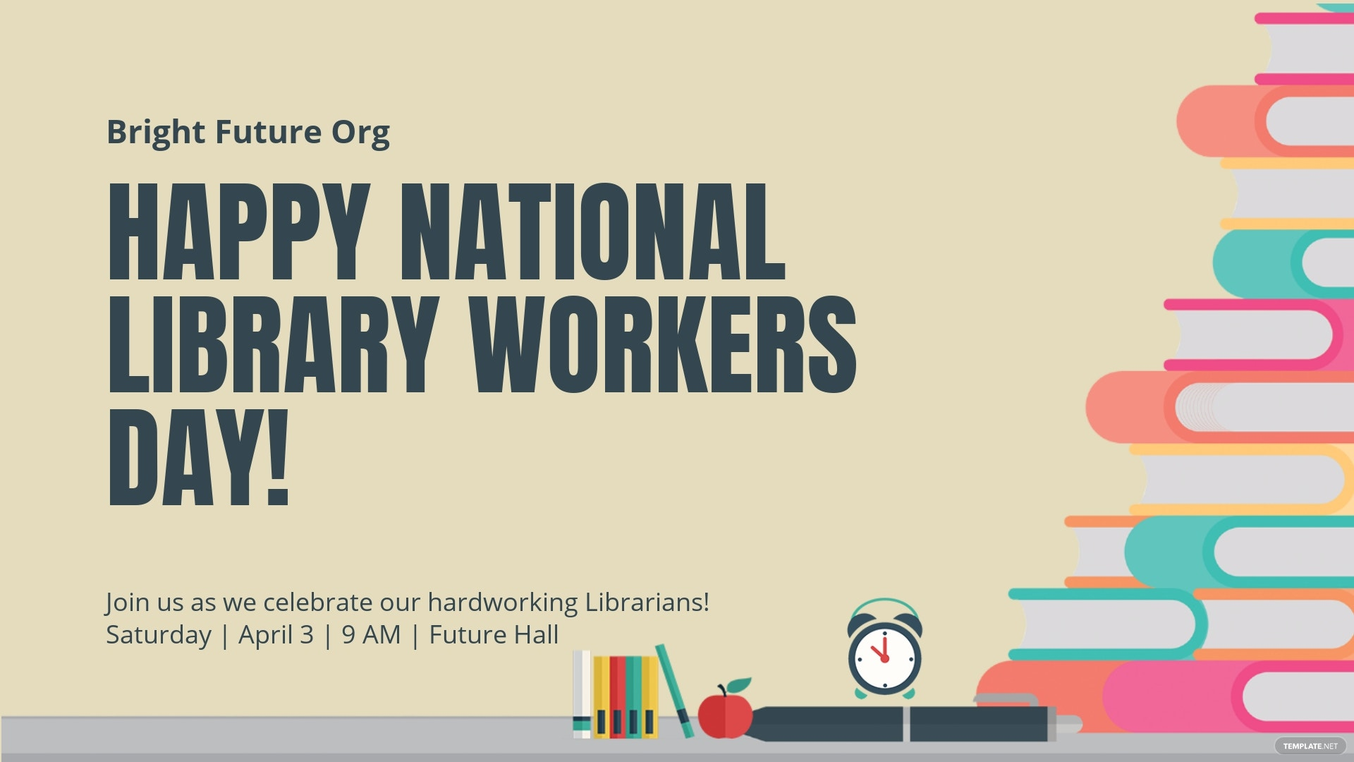 National Library Workers Day Facebook Event Cover Template