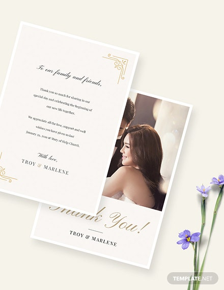 Sample Simple Wedding Photo Thank You Card