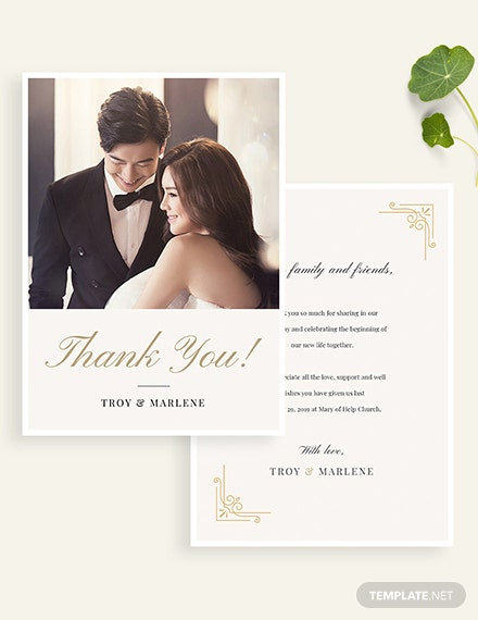 Simple Wedding Photo Thank You Card Download