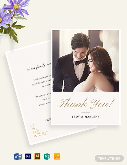 Simple Wedding Photo Thank You Card Template