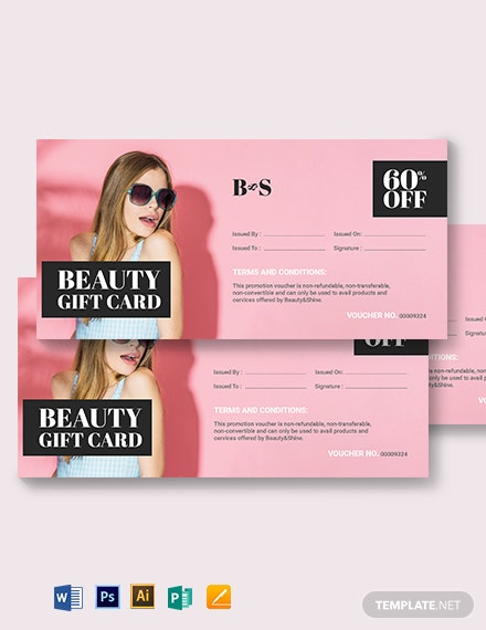 Beauty Gift Card Voucher Template