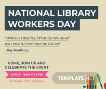 Free National Library Worker's Day Facebook Post Template