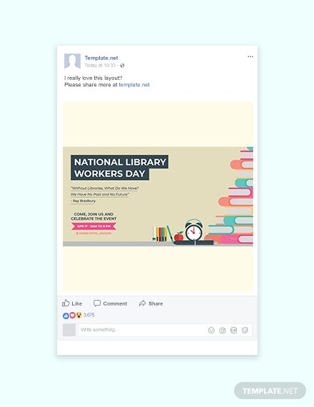 Free National Library Workers Day Facebook Post Template