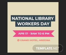 Free National Library Worker's Day Facebook Profile Photo Template