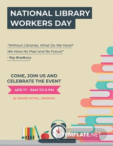 Free National Library Workers Day Flyer Template