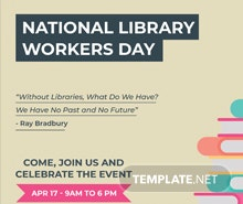 Free National Library Worker's Day Flyer Template