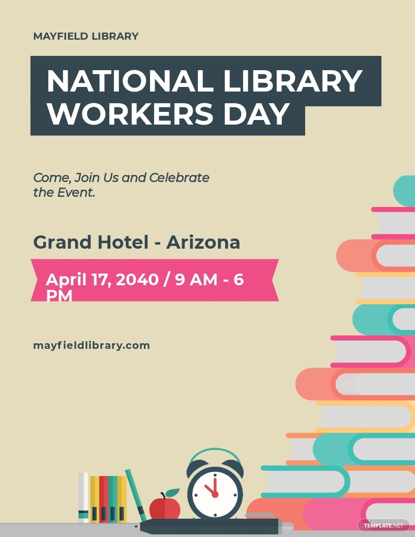 National Library Workers Day Flyer Template.jpe