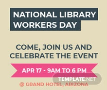 Free National Library Worker's Day Google Plus Header Photo Template