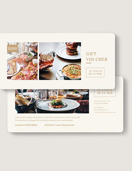 Sample Restaurant Gift Voucher