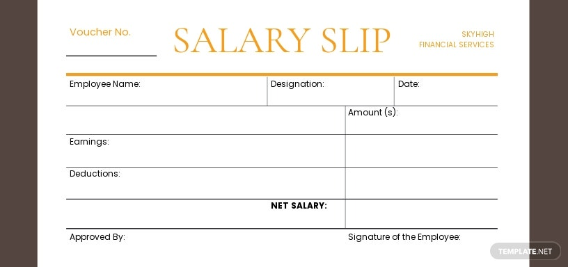 Salary Slip Voucher Template