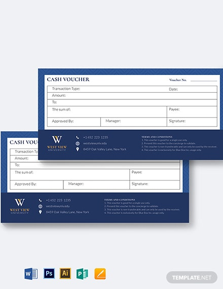 school cash voucher template 1