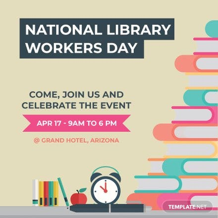Free National Library Worker's Day Instagram Post Template