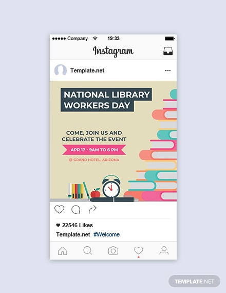 Free National Library Workers Day Instagram Post Template