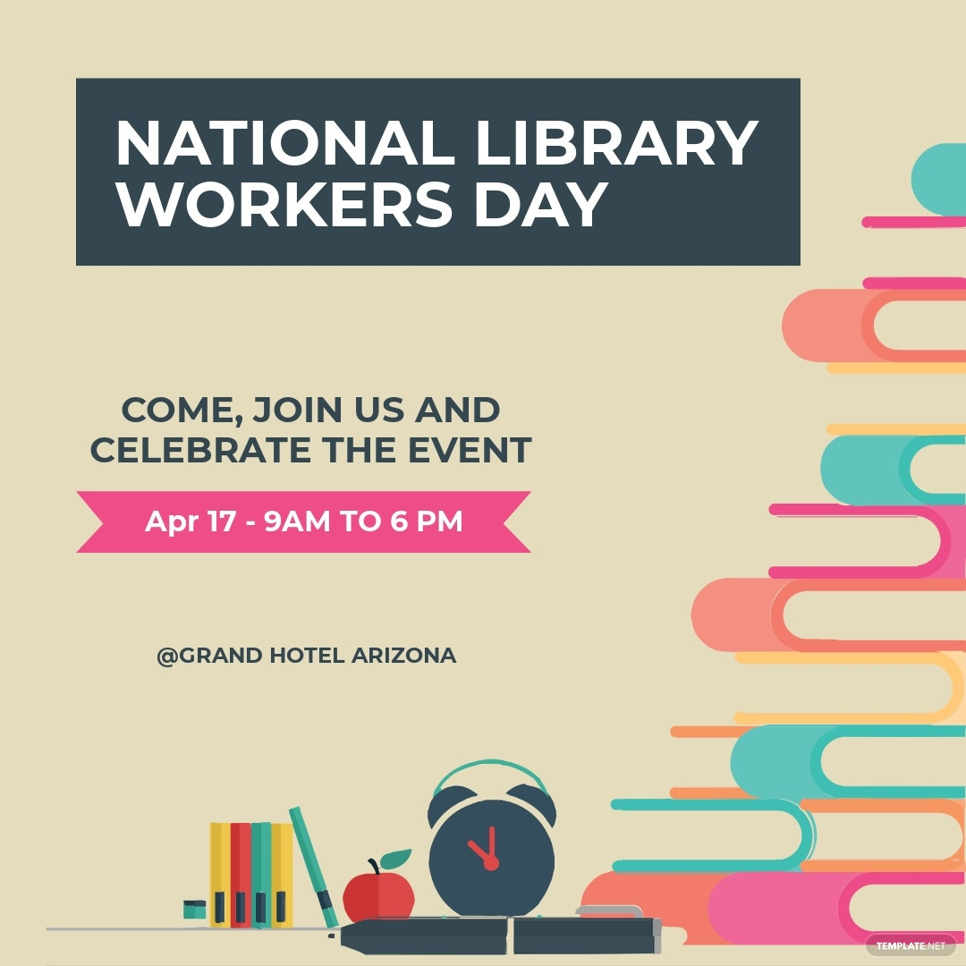 Free National Library Workers Day Instagram Post Template.jpe
