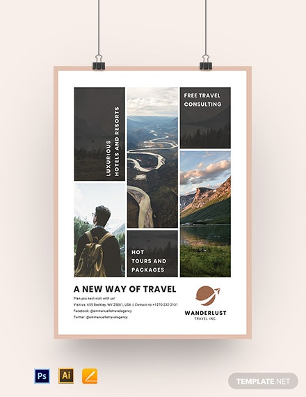 Printable Travel Agency Poster Template