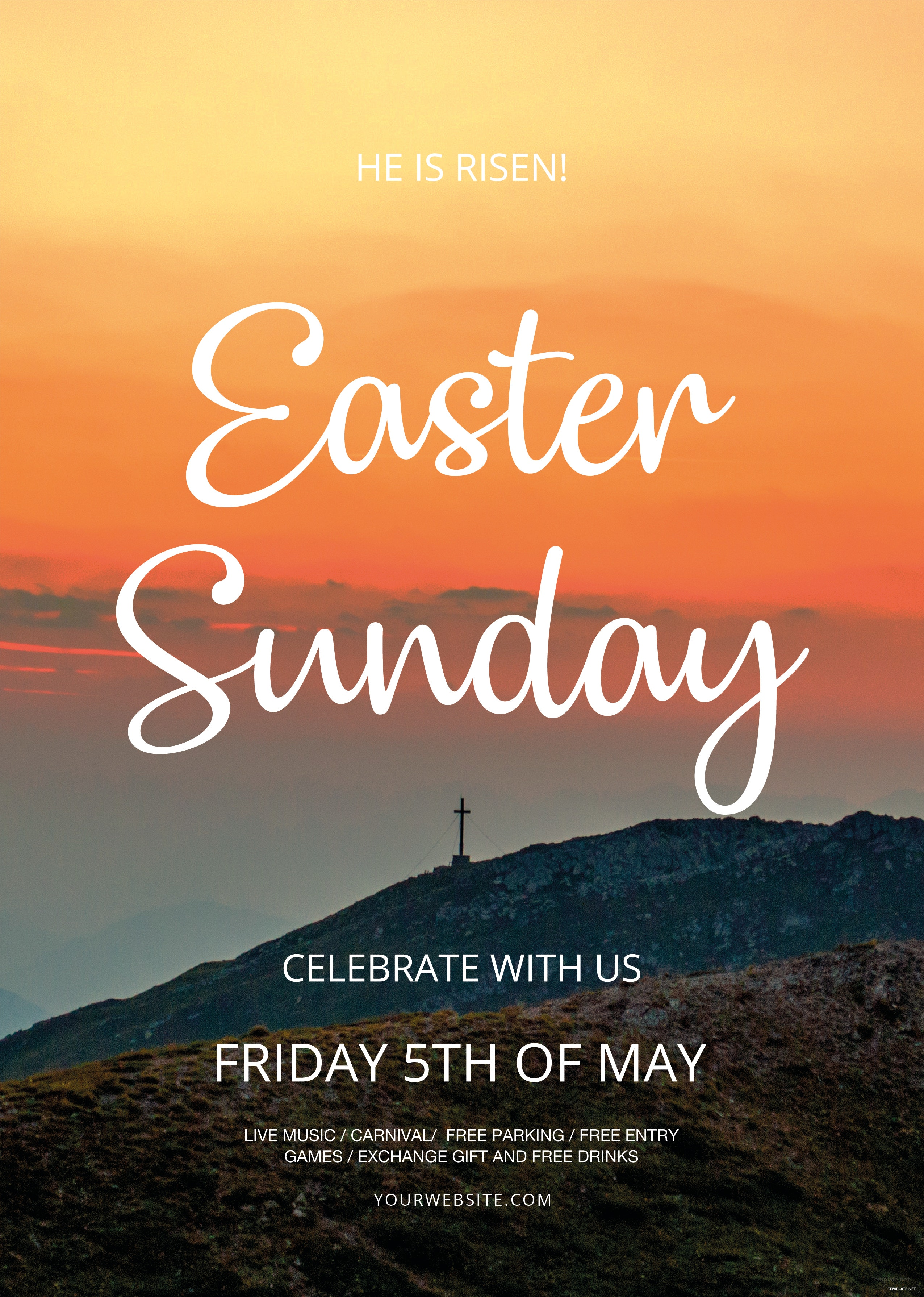 free easter sunday flyer template in adobe photoshop