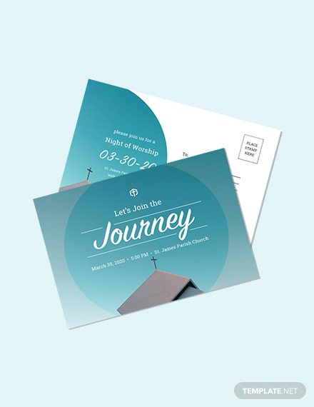 Church Invitation Postcard Template