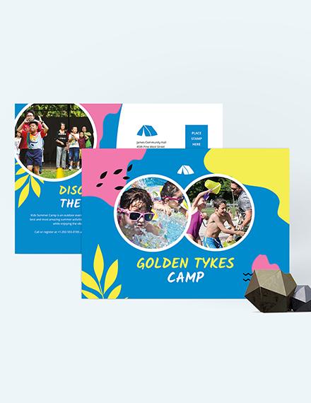 Sample Kids Summer Camp Postcard
