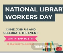 Free National Library Worker's Day LinkedIn Company Cover Template