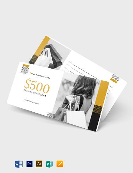 $500 Shopping Voucher Template
