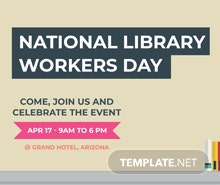 Free National Library Worker's Day LinkedIn Profile Banner Template