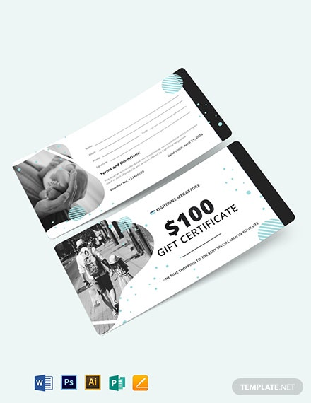 fathers day shopping voucher template