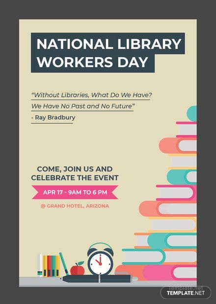 Free National Library Worker's Day Pinterest Pin Template
