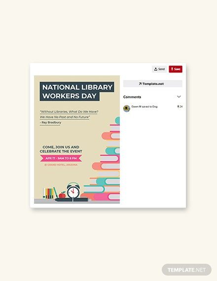 Free National Library Workers Day Pinterest Pin Template