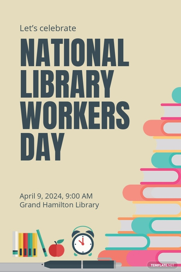 Free National Library Workers Day Pinterest Pin Template.jpe