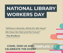 Free National Library Worker's Day Poster Template