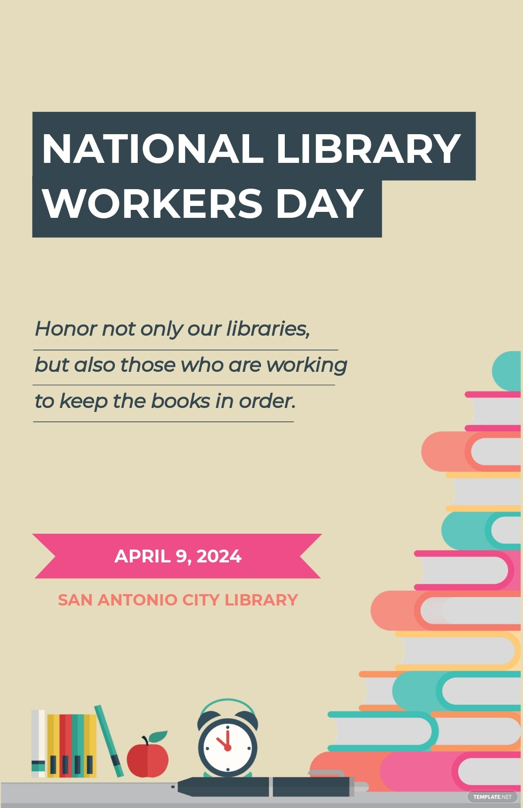 Free National Library Workers Day Poster Template.jpe