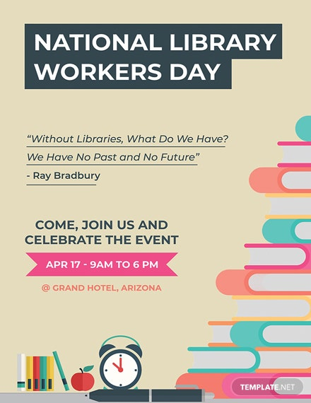 Free National Library Workers Day Poster Template