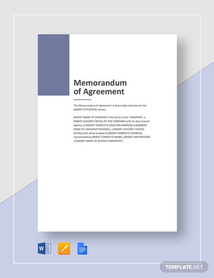 Sample Memorandum of Agreement Template